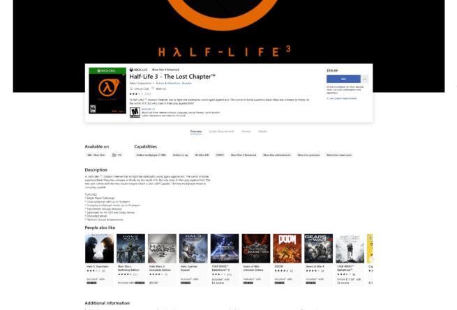 Half Life 3 on Microsoft Store