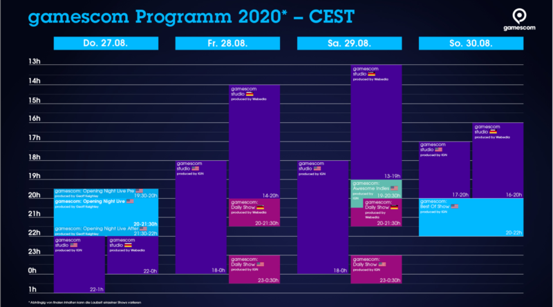 Timetable Gamescom 2020