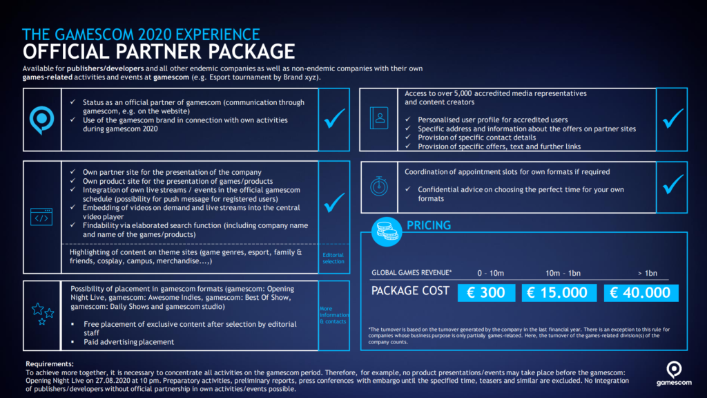 gamescom 2020 - Official Partner Package